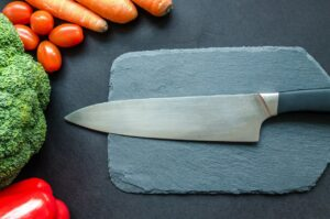 Kitchen Knife with Vegetables