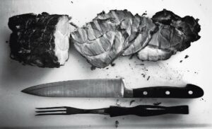 Roast Meat with Knife